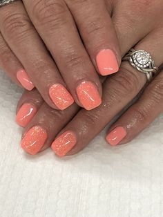 Ideas For Spring Pedicure Ideas Toenails Design Products Coral Gel Nails, Glitter Gel Nails, Gel Nail Colors, Orange Nails, Light Elegance, French Nails, Cute Short Nails, Gel Nagel Design, Nail Design Video