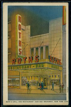 New York City Vintage Roth's Grill Linen Postcard Unused 1940s by DavesPaperGoods on Etsy https://www.etsy.com/listing/199107627/new-york-city-vintage-roths-grill-linen