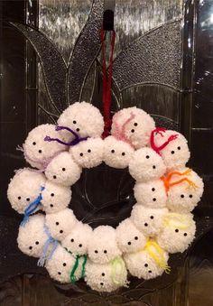 Snowman Pom Wreath Tutorial
