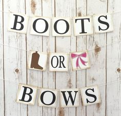 This beautiful Boots or Bows banner makes a great centerpiece at your gender reveal! Each letter tile is 4 x 4 and is made with quality CHIPBOARD in the color white. Chipboard tiles are not flimsy like cardstock, they are durable and will keep your banner in good condition. Each tile features a light brown vintage antiqued edging that is individually created on each tile by hand to give the banner a more rustic and unique look. The letters are made with black cardstock and are attached using…