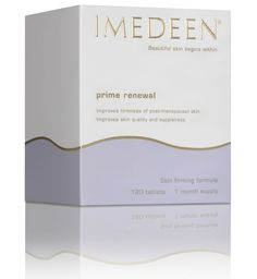 IMEDEEN Prime Renewal R650 ~ Prime Renewal skincare tablets help combat the effects of ageing that occurs around menopause, when skin loses moisture and becomes more susceptible to free radical damage and age spots. Taken daily, Prime Renewal skincare tablets will help improve skin quality and moisture balance.