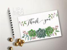 Printable Thank you Card, Floral Thank you Card, Wedding Thank you Card, Shower Thank you Card, Boho Thank you Card, Succulent Thank you - pinned by pin4etsy.com