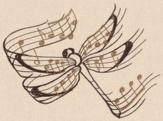 Beautiful Music Dragonfly Embroidered Flour Sack Hand/Dish Towel - Sewing and Quilting embroidery sweets embroidery inspiration embroidery beautiful Music Tattoos, Tatoos, Rib Tattoos, Word Tattoos, Music Tattoo Designs, Flower Tattoos, Sleeve Tattoos, Music Drawings, Drawing Music Notes