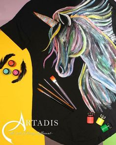 #womanfashion #handpaintedclothing #tshirt #painting #clothing #unicorn #unicorns #loveunicorns #painting #handpainted #handmade #mywork #art #painted #thsirt #girftshop #gifts #artistsoninstagram #artist #artoninstagram #artonclothes #womanclothing #artadis #customize #oneofakind #top #personalizedgifts #textilepainting #fabricpainting #womenwear #blackshirt Painted Clothes, Fabric Painting, Unicorns, Women Wear, Hand Painted, Clothes For Women, Womens Fashion, Clothing, Artist