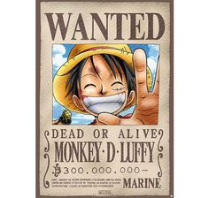 One Piece Poster Wanted Monkey D. Luffy. Hier bei www.closeup.de