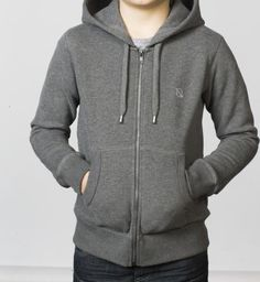 BOYS - EQIP logo zipper sweater - mid grey. For boys who also like to show their love for hockey off the field.