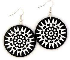Black white statement earrings, modern  jewelry by JewelryByJolanta