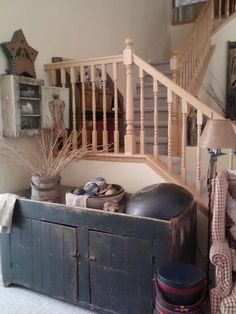 I wish ~My beautiful dry sink **** Primitive Bathrooms, Primitive Homes, Primitive Crafts, Country Primitive, Prim Decor, Country Decor, Rustic Decor, Farmhouse Decor, Country Entryway