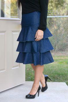 Image result for layered denim skirt