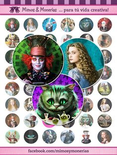"""Alice In Wonderland 60 - 1"""" Bottle Cap Images - Digital Collage Sheets - Hair Bows, Magnets, Stickers - INSTANT DOWNLOAD"""