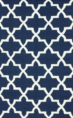 Rugs USA Homespun Nawra Trellis Navy Rug - love how this design uses crisp white and not ivory