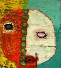 """Ham on Rye"", 22""x 20"", acrylic etc. on recycled wood, Hoke, outsider/raw artist"
