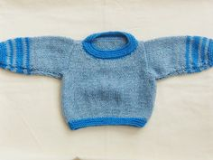 Unisex Blue Jumper for a Baby Hand Knitted by Creationsfortinytots