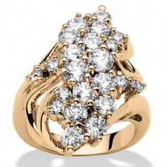 Shop for Yellow Gold-plated Cubic Zirconia Cluster Ring - White. Get free delivery On EVERYTHING* Overstock - Your Online Jewelry Shop! Art Deco Jewelry, Fine Jewelry, Jewelry Design, Women's Jewelry, Jewellery Box, Sterling Silver Jewelry, Antique Jewelry, Vintage Jewelry, Silver Ring