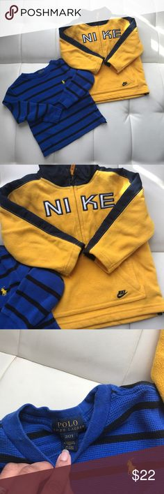Nike / Ralph Lauren Baby Toddler outerwear bundle Bundle includes a Yellow and Black NIKE Fleece Half Zip Pullover jacket size 24 months and a POLO by Ralph Lauren Blue and Black Striped Thermal Long Sleeve tee Size 2T. Both are in excellent condition! Nike Jackets & Coats
