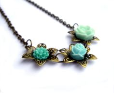 S A L E  starts NOW!!!  Until 11:59PM  PDT  Use Coupon Code JPWITHLOVE15OFF to receive 15% off all ITEMS IN MY STORE http://etsy.me/t7Drgn Flower necklace turquoise teal green mint filigree flower rose resin flower jewelry