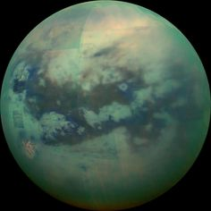 """This composite image shows an infrared view of Saturn's moon Titan from NASA's Cassini spacecraft, acquired during the mission's ''T-114'' flyby on Nov.…"""