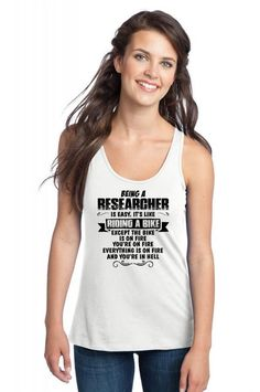 being a researcher copy Racerback Tank