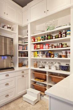 Corner shelf use in pantry. I prefer the more cabinet built in pantry shelving. Kitchen Pantry Design, Pantry Shelving, Kitchen Organization Pantry, Kitchen Pantry Cabinets, Kitchen Storage, New Kitchen, Pantry Ideas, Organized Kitchen, Kitchen Corner