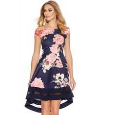 Quiz Navy and pink flower print bardot dip hem dress Plus Size Skater Dress, Lipsy Dresses, Retro Dress, Fit Flare Dress, Designer Dresses, Party Dress, Summer Dresses, Pink Dresses, Pageant Dresses