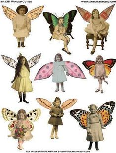 Vintage girl and butterfly wings - free printablefree collagesheet for your artworkMar Collage sheets for collage and abstract / zetti art. Papel Vintage, Vintage Paper Dolls, Vintage Ephemera, Collage Sheet, Collage Art, Family Collage, Paper Art, Paper Crafts, Paper Dolls Printable