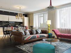 Un apartamento en rosa, turquesa, amarillo y verde - Blog Tendencias y Decoración