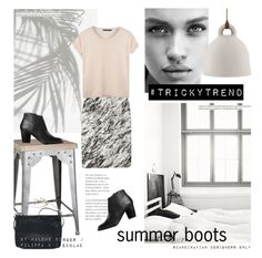 """""""Tricky Trend: Summer boots"""" by little-bumblebee ❤ liked on Polyvore featuring Zara Home, Filippa K, By Malene Birger and Normann Copenhagen"""