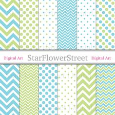 blue green digital paper chevron polka dot printable photography background baby boy download banner making pattern StarFlowerStreetDA on Etsy: (3.50 USD)