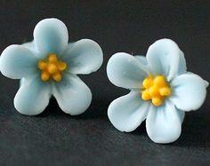 Baby Blue Flower Earrings. Forget Me Not Flower Earrings with Bronze Stud Earrings. Blue Earrings. Flower Jewelry. Handmade Jewelry.