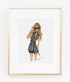 Fashion Illustration Print Gingham 8x10 by anumt on Etsy