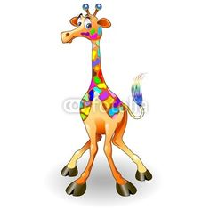 Fantasy Colors Giraffe-Cartoon © bluedarkat