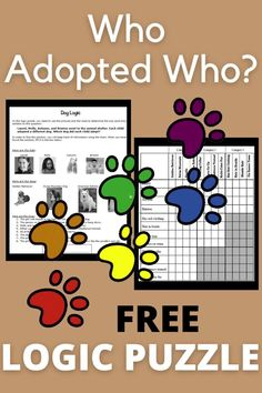 """In this fun logic puzzle, which will only take about 15 minutes, students use pictures and clues to make deductions that lead to the one and only solution to the question, """"Which dog did each child adopt at the animal shelter?"""" PDF or interactive Google Slides for distance learning. Can be used as a warm-up, bellringer, or free-time activity. It does involve critical thinking and logic skills, so it is not a waste of time. Elementary Education, Upper Elementary, Teacher Student Love, 5th Grade Ela, Logic Puzzles, Early Finishers, English Language Arts, Free Time, Critical Thinking"""