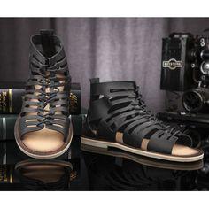 Mens Black Leather Gothic Punk Gladiator Fashion Sandal Boots SKU-1280700