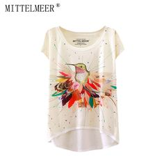 MITTELMEER New Polyester T-Shirt Women Short Sleeve t-shirts o-neck Causal loose Colored bird wing T Shirt Summer tops for women #Affiliate