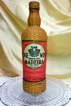Wicker Wrapped Madeira Portugal Wine Bottle by ScarlettsFancies, $18.00