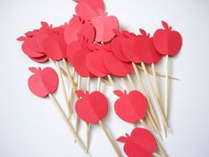 24 Decorative Red Apple Party Picks - Toothpicks - Cupcake Toppers - Food Picks  #pinAtoZ #apples