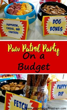 Paw Patrol Party on a Budget – No Getting Off This Train Is your child a huge fan of Paw Patrol? Here's how to do a Paw Patrol party on a budget to help you save money and serve creative food! Puppy Birthday Parties, Puppy Party, Birthday Party Themes, 3rd Birthday, Birthday Ideas, Birthday Recipes, Paw Patrol Birthday Decorations, Paw Patrol Birthday Theme, Party Food On A Budget