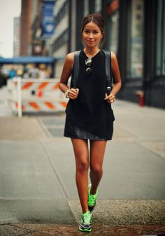 can be dress and running shoes outfit :) STREETSTYLE INSPIRATION: Sneakers