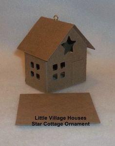Putz Style Glitter House Ornament-STAR COTTAGE Ornament/Mini House- DIY