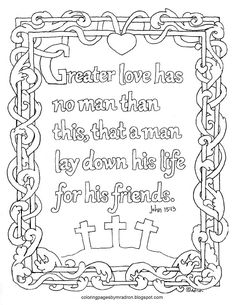 coloring pages for kids by mr adron john greater love has no man printable coloring page