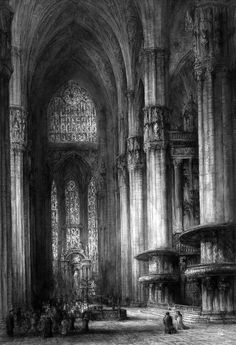 J. Alphege Brewer (British artist 1909-1938) - Milan Cathedral, Italy