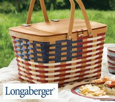Longaberger Great American Picnic Celebration Basket w/Riser :: Longaberger.com/lifestyle:: Longaberger  Company, Picnic Baskets, American Tradition, Handwoven Maple, Flag weave