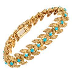 1960's Tiffany & Co. Gold Turquoise Bracelet