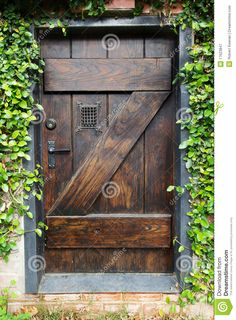 Rustic Decor Curtains 2 Panels Set, Small Spanish Style Dark Stained Wood Door Secret Garden With Grated Window Art Picture, Living Room Bedroom Accessories, By Ambesonne Secret Garden Door, Garden Doors, Garden Gates, Old Wooden Doors, Rustic Doors, Cool Doors, Unique Doors, Porta Colonial, Dark Wood Stain