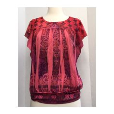Gorgeous Dressy Top by Apt. 9 Beautiful Detail This beautiful top is coral/pink with intricate patterns in the fabric and purple sparkly beadwork at the neckline. Flattering pleats make it figure-flattering. Perfect condition from a smoke-free, pet-free home! Machine wash cold. Apt. 9 Tops Blouses