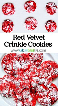 Red Velvet Crinkle Cookies - holiday cookies - Urban Bliss Life - Holiday wreaths christmas,Holiday crafts for kids to make,Holiday cookies christmas, Holiday Cookie Recipes, Easy Cookie Recipes, Holiday Cookies, Holiday Desserts, Holiday Baking, Fun Desserts, Holiday Parties, Dessert Recipes, Dessert Ideas