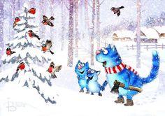Blue cats happiness Irina Zenyukov - Fair Masters - handmade, handmade