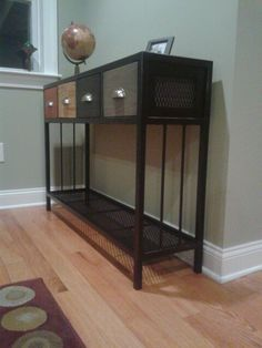 Steel with wood drawers console  table. Handmade