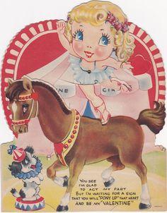 VINTAGE VALENTINE KID'S CARD-1940'S-MOVEABLE PARTS-CIRCUS PONY-BAREBACK RIDER