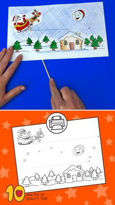 Santa Flying His Sleigh Diy Crafts For Kids Easy, Easy Arts And Crafts, Crafts To Do, Paper Crafts, Christmas Arts And Crafts, Christmas Themes, Christmas Fun, Printable Crafts, Fun Activities For Kids
